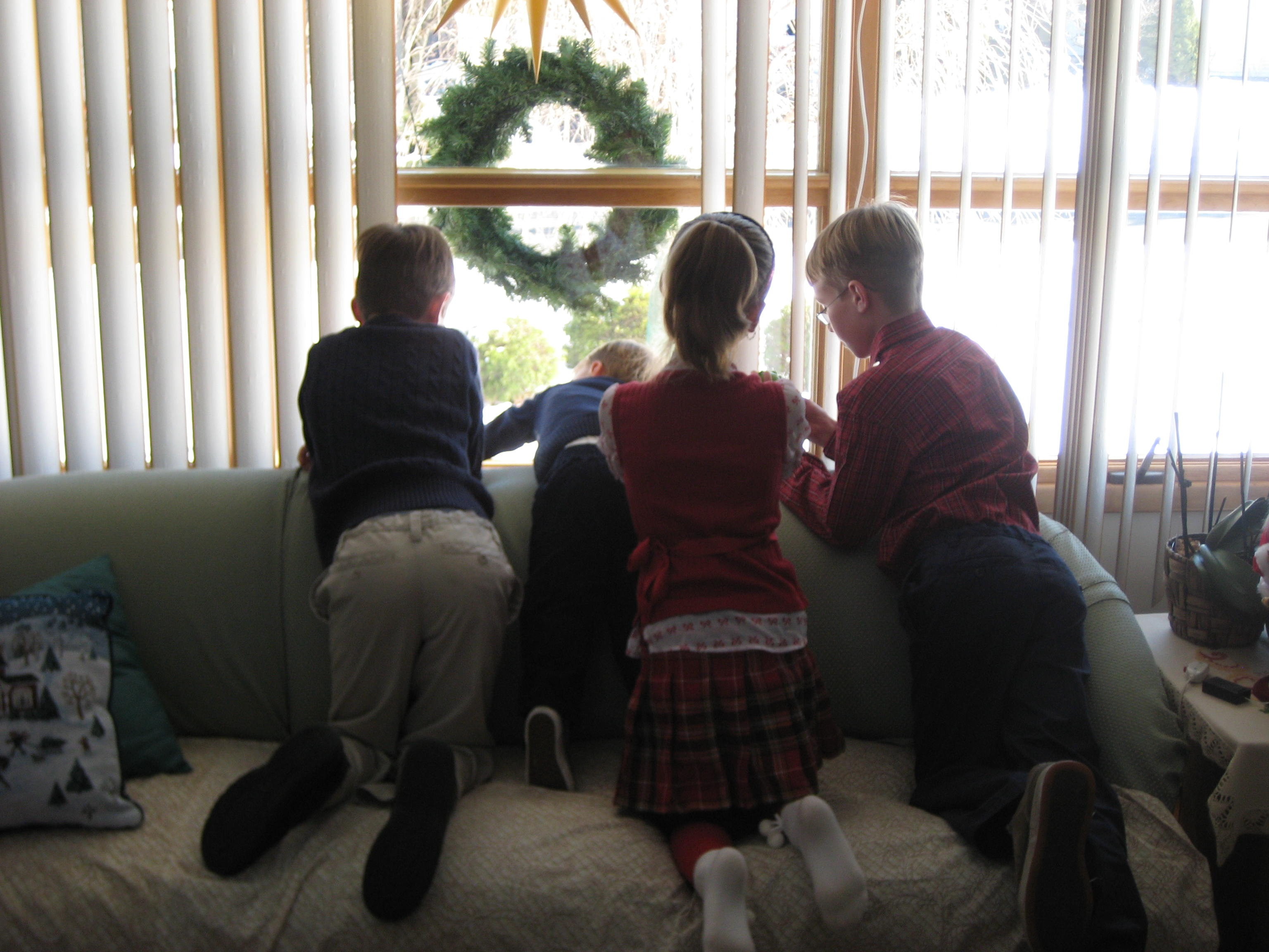 """I call this one """"Waiting for Santa,"""" because """"Get your feet off of Omi's couch"""" doesn't have the same holiday spirit."""