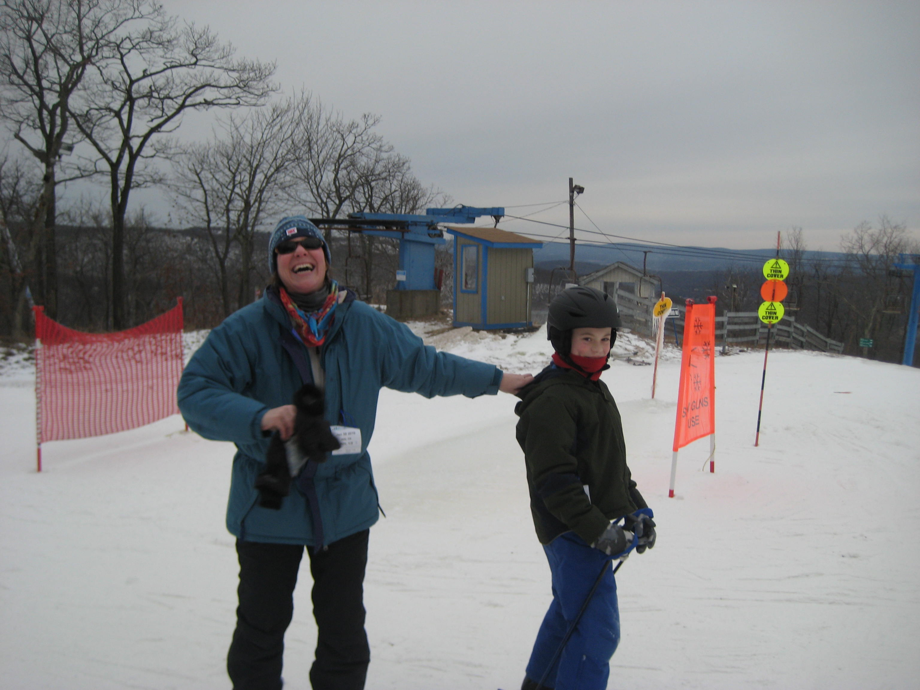 Also, that I didn't get my skiis waxed, or I'd have been half-way down the trail, backwards and giggling.