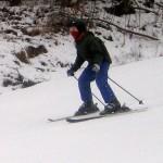 Chris skis.