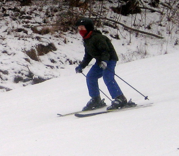 He can ski pretty fast when no one's holding him back.