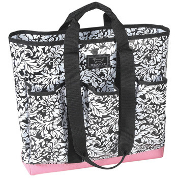 """The Bottlebag Plus, a multi-pocketed tote to transport essentials from water to wine, beach gear and more. In """"French Twist."""" Valued at $41.95."""