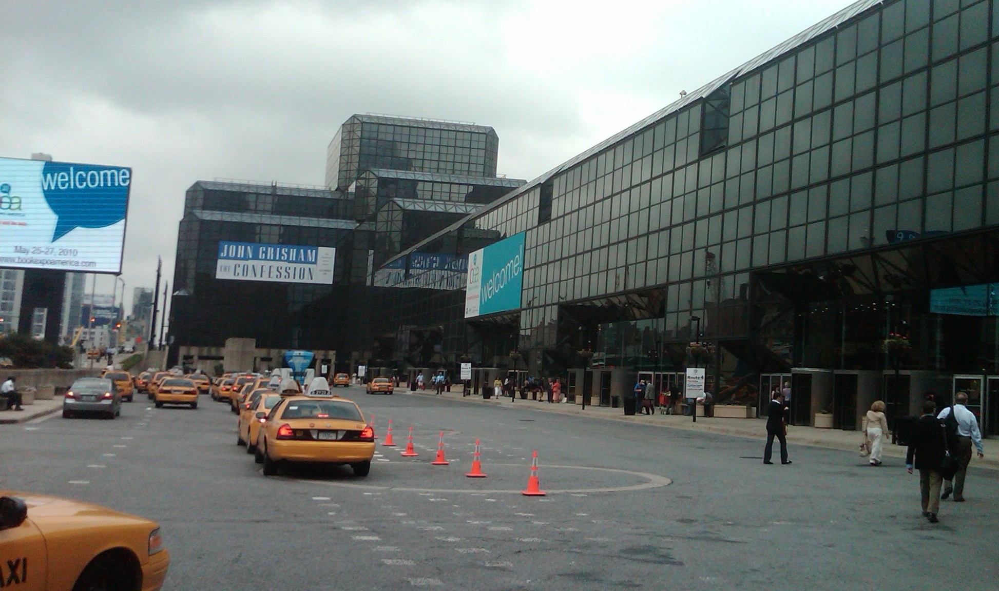 Only John Grisham got the giant sign attached to the outside of the Javitz Center.