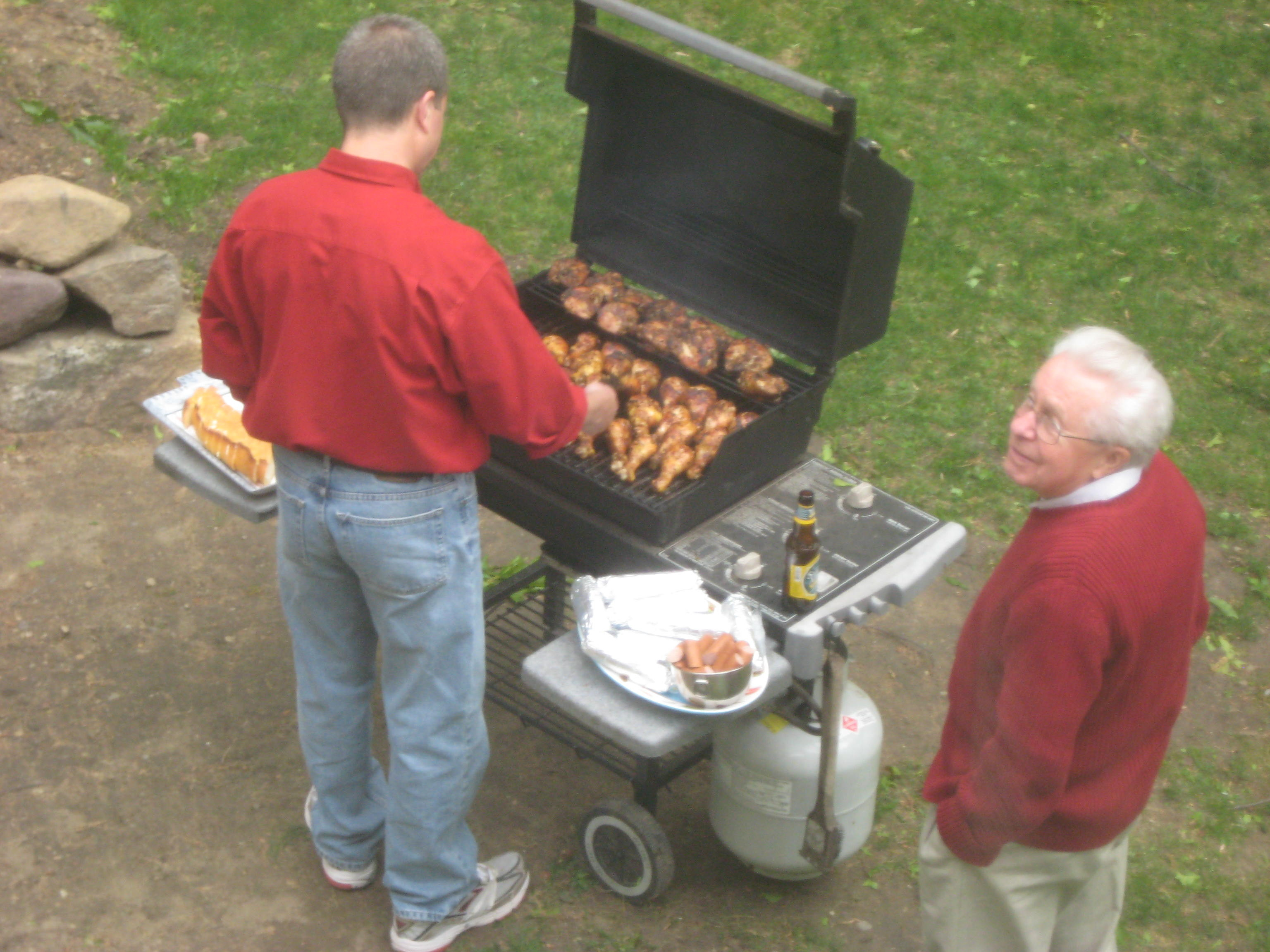 "...have a great meal cooked by my husband Pete (and overseen by my father-in-law), while my son Nick coined the phrase, ""Where there's smoke, there's Pete.""..."