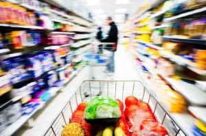 Shopping cart rush through store