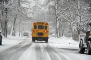bus in snowstorm