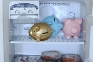 Piggy banks in freezer