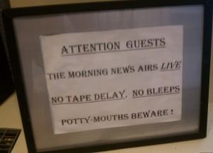 WPIX green room sign