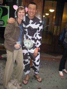 man in cow suit
