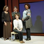 The cast:  Randy Graff, James Lecesne, Mary Bacon (seated) and Saidah Arrika Ekulona in the New York premiere of the new play, Motherhood Out Loud, conceived by Susan R. Rose and Joan Stein presented by Primary Stages directed by Lisa Peterson.  Now in performance through October 29th at 59E59 Theaters.  Photo credit:  James Leynse.