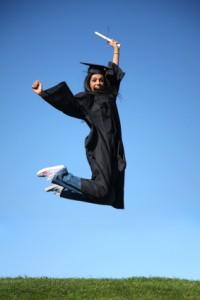 High school graduate celebrates