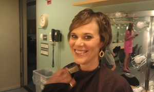 Jen Singer in makeup at Anderson