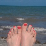 Those are my toes on the beach in Miami at the Mom 2.0 conference this spring. No doubt, someone will say I don&#039;t deserve a holiday if I have time for pedicures and taking pictures of them on a beach. Whatev.