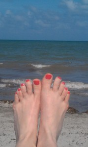 toes on beach