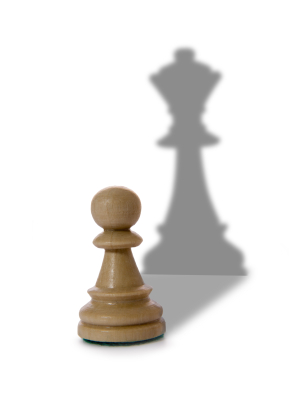 chess queen and pawn