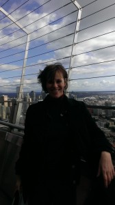 Jen Singer on the Space Needle
