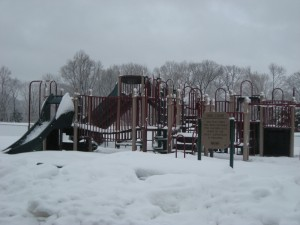 playground in snow
