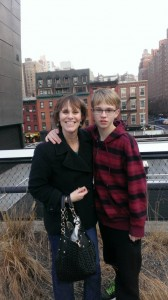 Jen Singer and son on the High Line