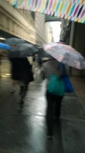 rainy sidewalk nyc
