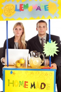 lemonade stand with adults