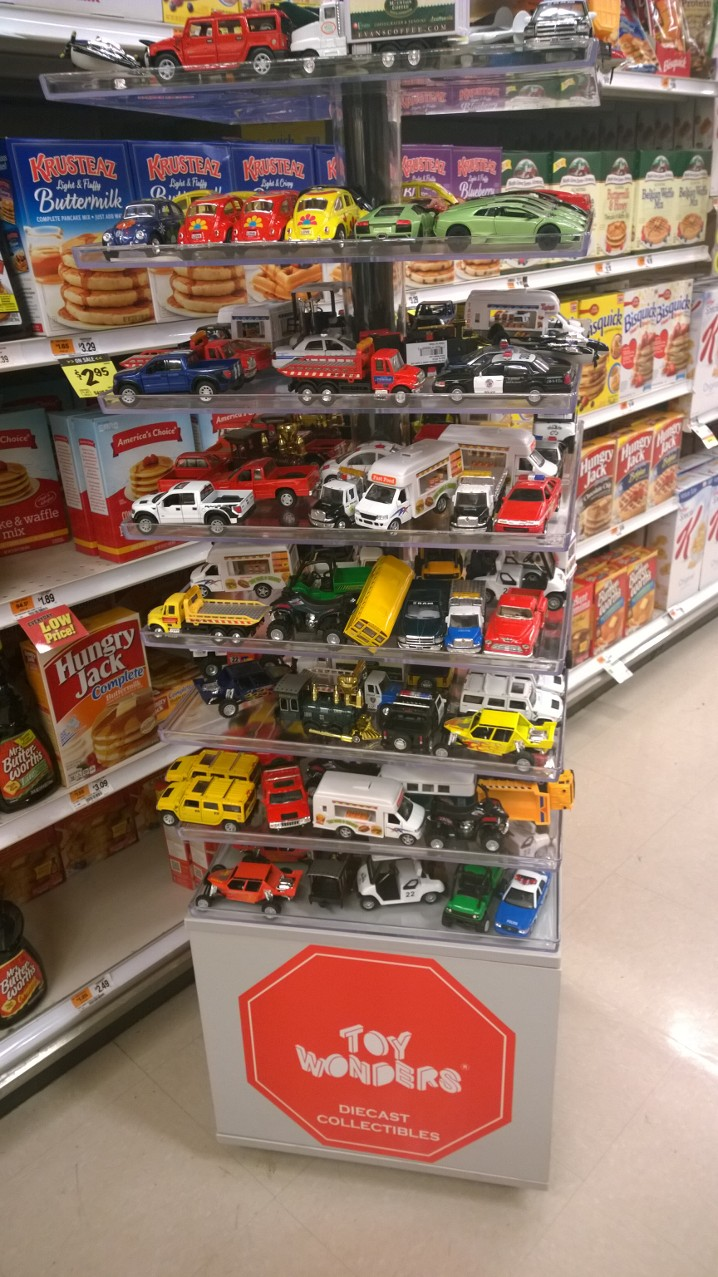 Mommasaid You Beautiful Toy Car Display In The Pancake Mix Aisle